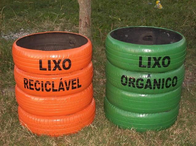 Lixos com pneus reaproveitados